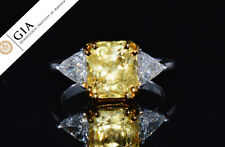 GIA Natural 6CTS VVS F Diamond Unheated Yellow Sapphire Platinum Engagement Ring