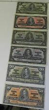 Nice Set of 1937  Gordon/Towers $1-$50 Bank of Canada Notes