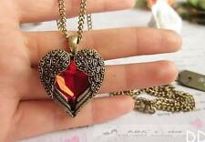 Vintage Women Red Rhinestone Peach Heart Wing Pendant Necklace Chain