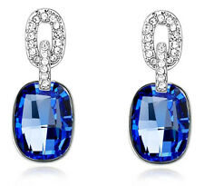 Luxury Vintage Style Jewellery Silver & Dark Blue Stone Drop Stud Earrings E762