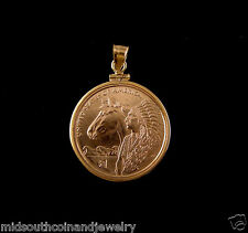 Coin Jewelry Pendant 2012 SACAGAWEA HORSE Dollar Coin 14K Gold Filled Bezel NEW