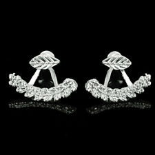 Gold Silver Plated Leaf Crystal Ear Jacket Double Sided Stud Earrings Best Gifts