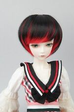 """BJD Doll Hair Wig 6-7"""" 1/6 SD DZ DOD LUTS Black and Red Short Hair"""