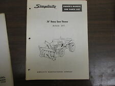 "Simplicity 36"" Snow thrower blower owners & parts & maintenance manual Model 311"