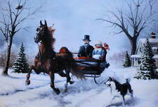 Winter Christmas Horse sleigh Husky dog