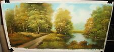 CHENG HOU RIVER TREES LANDSCAPE ORIGINAL OIL ON CANVAS PAINTING