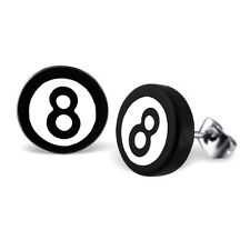 NERO Bianco in Acciaio Inox MAGIC 8 BALL ORECCHINI-Gotico FAKE EAR PLUGS
