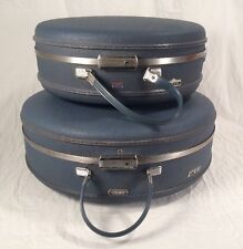 "Vtg American Tourister Tiara 17"" & 20"" Round Hard Train Case Luggage Blue w/ Key"