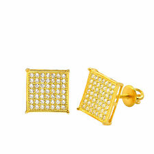Yellow Gold Plated Cubic Zirconia Stud Earrings Screwback Square 10mm