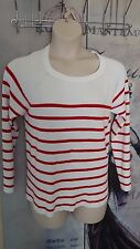 18 NEW DOROTHY PERKINS WHITE RED STRIPED JUMPER BACK FLAP NAUTICAL