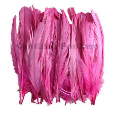 "50 pcs 6-8"" long Hot Pink Dyed Rooster COQUE tail Feathers for crafting, NEW"