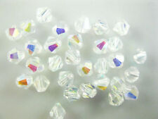 Bulk 30pcs Half Clear AB Glass Crystal Faceted Bicone Beads 8mm Spacer Findings