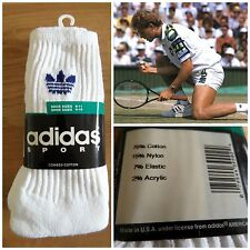 3 x VINTAGE 90s adidas Crew Tennis Calze MADE IN USA 80s Sports Uomo Retro Wimbledon