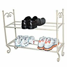 New Shabby Chic Vintage Style Cream 2 Tier Metal Shoe Rack Storage Organiser