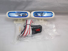 "2 55W 3/8"" X 4"" WHITE  MARINE BOAT PONTOON DOCK SPOT LIGHTS HARNESS KIT SWITCH"