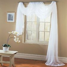 """Valance Sheer Voile Scarf Swag Panel Window Curtain Drape 216"""" Long White"""