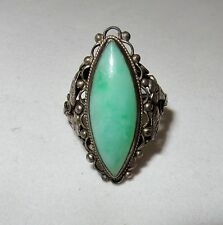 Antique Chinese Sterling Silver Ring with 22mm Green JADEITE Jade  (size 5.25)