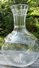 AMERICAN BRILLIANT ABP ETCHED GLASS CARAFE DELICATE FLOWERS