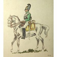 Unframed Unsigned Original Fifties Retro Cavalry Horseguard Watercolour Painting