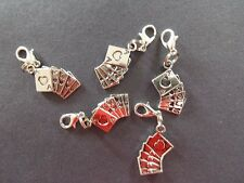 ROYAL FLUSH 5 CARD POKER HAND silver tone clip on bracelet charm