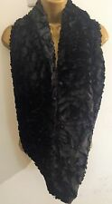 New Black Soft Rose Embossed faux fur double wrap snood infinity scarf