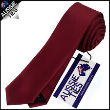 MENS BURGUNDY / MAROON / DARK RED SKINNY 5CM TIE necktie thin narrow slim