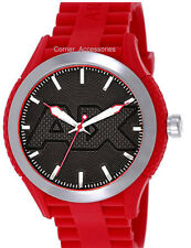 AX1382 NEW AIX ARMANI EXCHANGE MEN ROUND DIAL RED SILICONE BAND WATCH