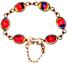 VINTAGE STUNNING COLORFUL GLASS BRACELET WITH SECURITY CHANE ~SIGNED: SARAH COV