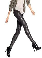 New NWT Hue Leggings Ponte Baroque Foil Print Black Pewter Holiday Metallic XS
