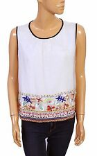 128546 New Anthropologie Embroidered Embellished Round Neck Blouse Top Small S