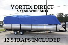 NEW VORTEX BLUE 20 FT Foot Ultra Pontoon Boat Cover w/Elastic Seam and Tie Downs
