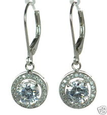 Solid 925 Sterling Silver Round Lab Simulated Diamond Drop Earrings '