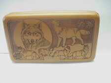 Vintage Wilderness Woods Hand Carved Wolves Jewelry/Trinket Box
