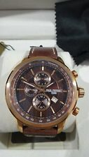 Paul Perret Swiss Chronograph Sorel Brown Dial Leather Strap Mens Watch