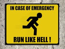 safety humour decorative warning funny run like hell metal door wall sign plaque