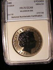 Gibraltar 5 Pounds, 1999, Millennium 2000, Titanium Proof - Beautiful Coin