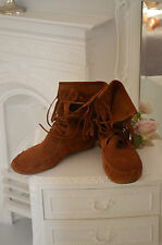 Tassel boots-marron clair en daim new look towie boho indian summer festival 7 40