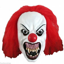 SCARY IT SNARLING KILLER CLOWN  MASK WITH RED HAIR HALLOWEEN FANCY DRESS