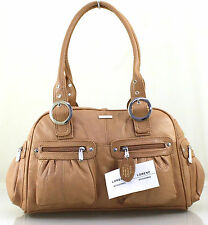 Womens Ladies Lorenz Large Real Leather Weekend Shoulder Hobo Tote Handbag Tan