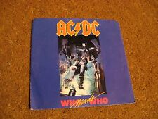 AC/DC/ Who Made Who b/w Guns For Hire/ Atlantic/ 1986/ Canada/ Picture Sleeve