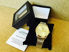 30N NEW ROTARY MENS CLASSIC TWO TONE GOLD BRACELET WATCH DATE SLIM GB03851/03