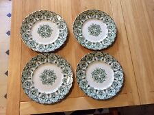 4 Antique J.G. Meakin Hanley England Green, White and Gold Plates  8""