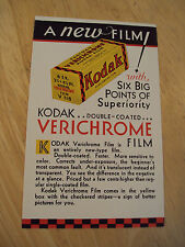 RARE 1931 Advertising Flyer~KODAK VERICHROME FILM~Very Nice~Ephemera~Paper~Photo