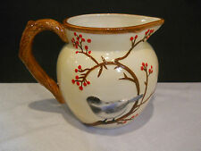 Harry & and David Decorative Pitcher Cream Color Branches Red Berries Bird  6""