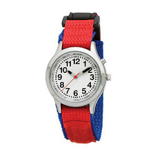Ladies / Kids Velcro Talking Alarm Watch: Blue and Red Strap, Loud, Low Vision