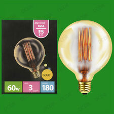 2x 60W Antique Vintage Gold G125 Dimmable Globe Light Bulbs Screw ES E27 Lamps