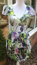 SALE IMPORTED WAREHOUSE GREEN PINK WHITE GARDEN TULIP DRESS medium x MANGO
