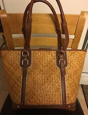 """Etienne Aigner Straw Leather Bag Purse Shoulder bag 15""""x10"""" - Free Shipping!"""