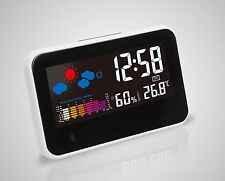 Digital Electronic Alarm Clock Weather Temperature Humidity Voice-Activated Xmas
