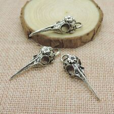 10pcs Antiqued Silver Tone Alloy Bird Skull Charm Pendant Jewelry Finding T0021